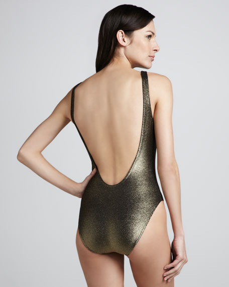 Milady Nageur Textured Metallic One-Piece Swimsuit