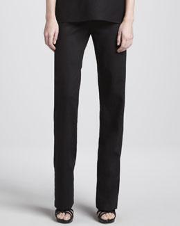 Caroline Rose Straight-Leg Linen Pants