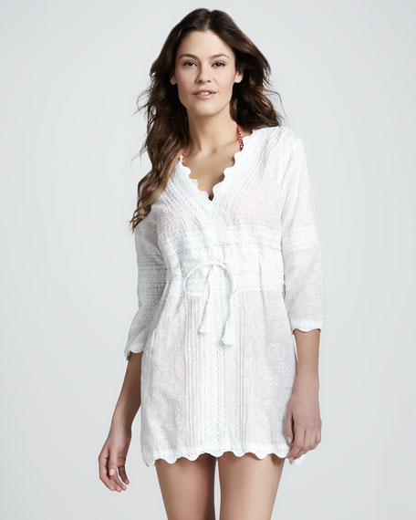 Scalloped Drawstring Cotton Tunic