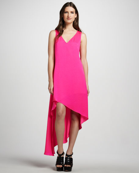Asymmetric V-Neck Dress