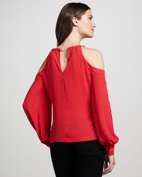 Open-Shoulder Crepe Blouse