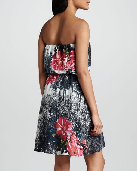 Strapless Floral-Print Dress