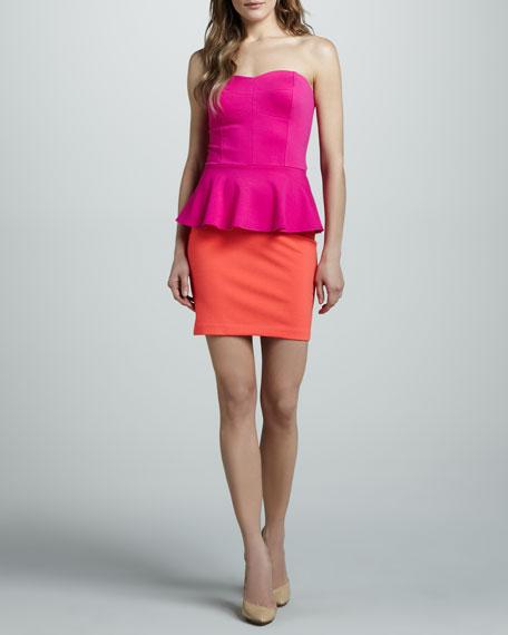 Two-Tone Ponte Peplum Dress
