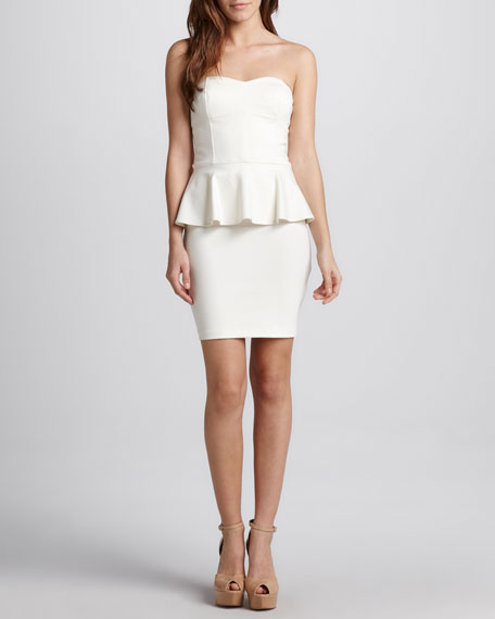 Strapless Ponte Peplum Dress