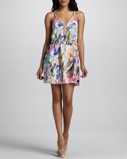Cusp by Neiman Marcus Printed Belted Silk Dress