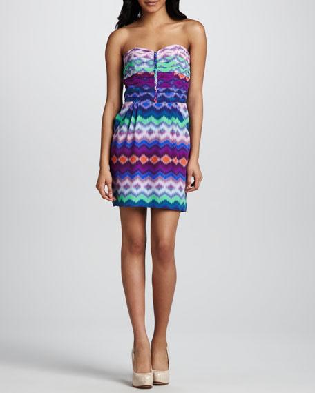 Pleat-Bodice Printed Dress