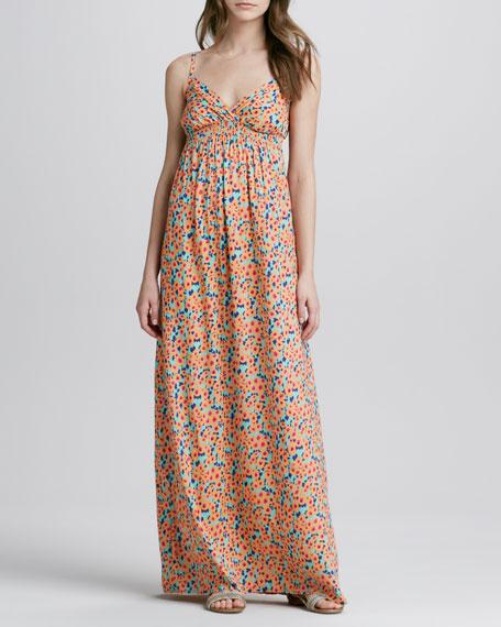 Watercolor-Print Maxi Dress