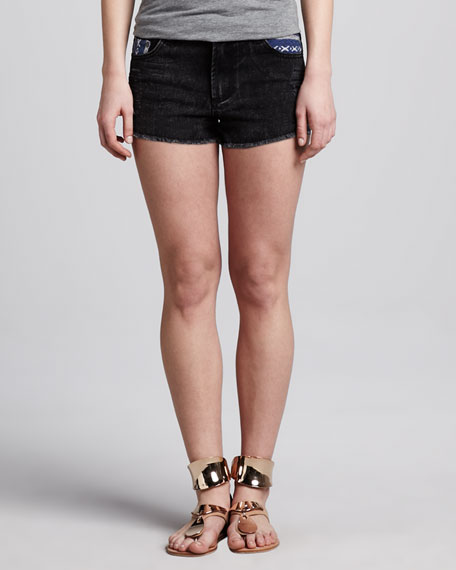 Acid-Wash Denim Shorts, Black