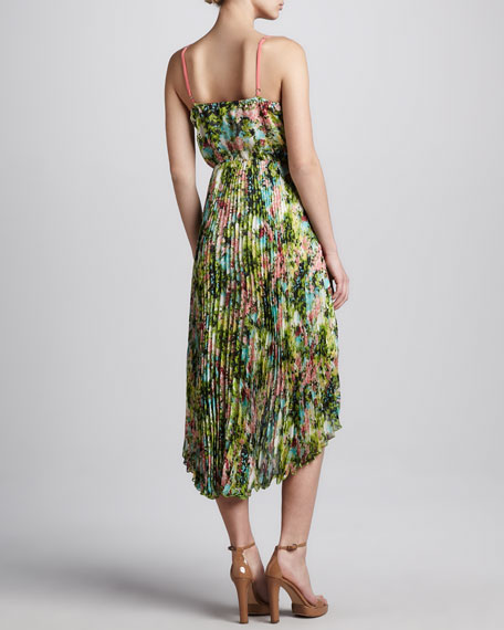Pleated Floral-Print Maxi Dress