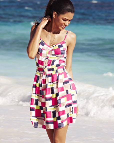 Patchwork-Print Sleeveless Dress