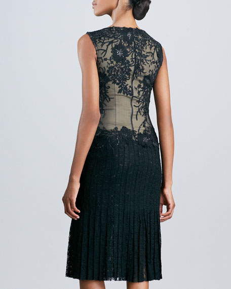 Lace Applique Cocktail Dress with Pleated Skirt