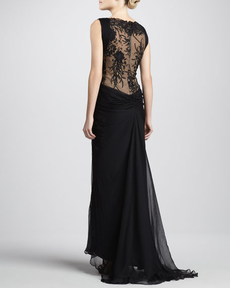 Sleeveless Lace and Sequined Illusion Back Gown