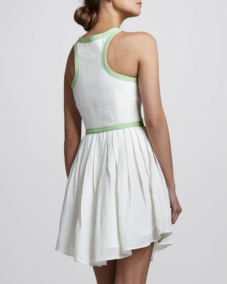 Contrast-Trim Sleeveless Dress