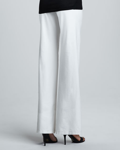 Washable-Crepe Wide-Leg Pants, Bone