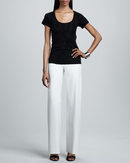Washable-Crepe Wide-Leg Pants Bone, Women's