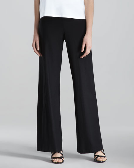 Washable-Crepe Wide-Leg Pants, Black