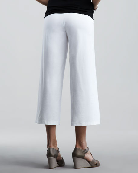 Washable-Crepe Cropped Pants