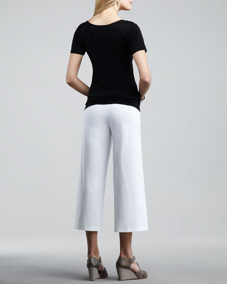 Washable-Crepe Cropped Pants, Petite