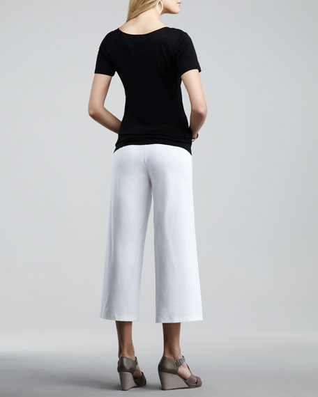 Washable-Crepe Cropped Pants, Women's