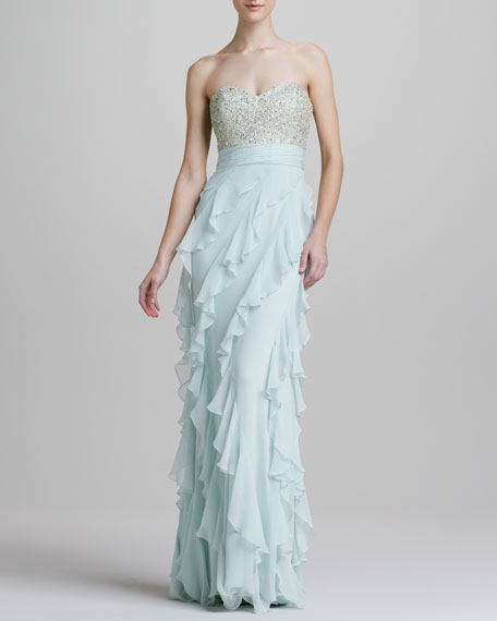 Strapless Sequined Bodice Ruffle-Bottom Gown