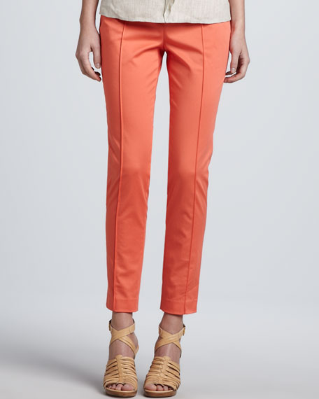 Slim Stretch Poplin Pants, Coral