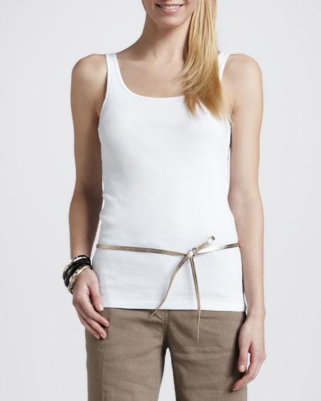 Metallic Leather Skinny Belt