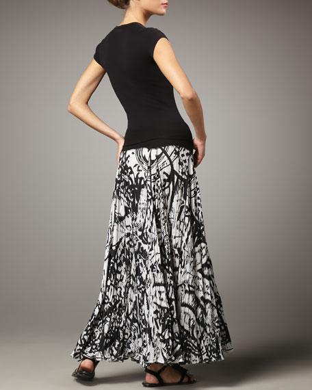 Knit-Waist Paisley Maxi Skirt