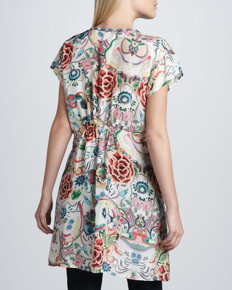 Printed Silk V-Neck Tunic, Women's