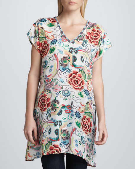 Printed Silk V-Neck Tunic, Women's