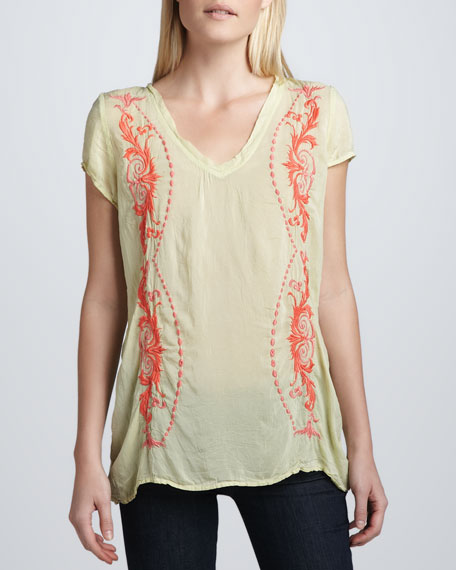 Embroidered Georgette Majestic Tee