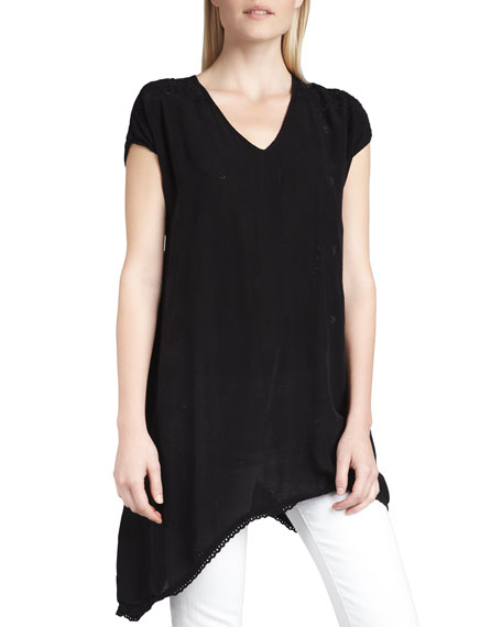 Asymmetric Georgette V-Neck Tunic