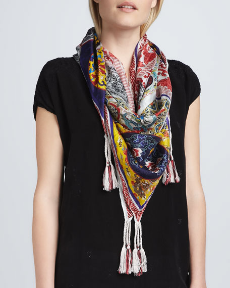 Patchwork Silk Georgette Scarf
