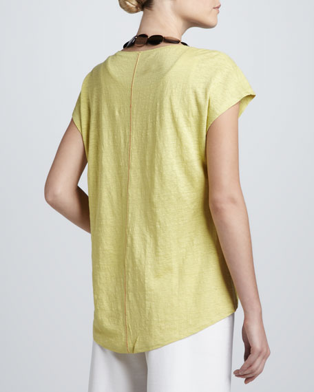 Topstitched Linen Jersey Tee