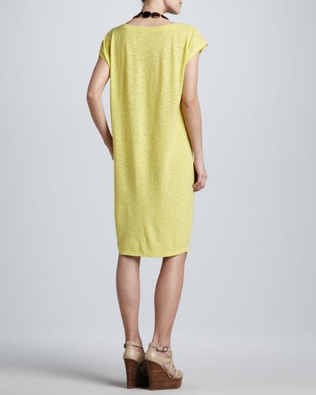 Cap-Sleeve Slub Dress