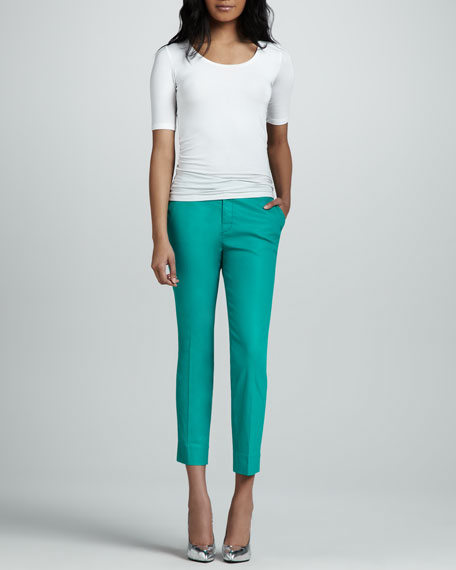 Slim Chino Pants, Coated Tropical Green