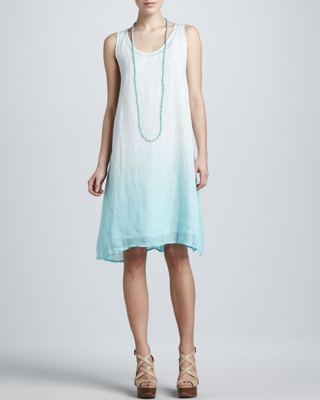 Ombre Layered Linen Dress, Petite