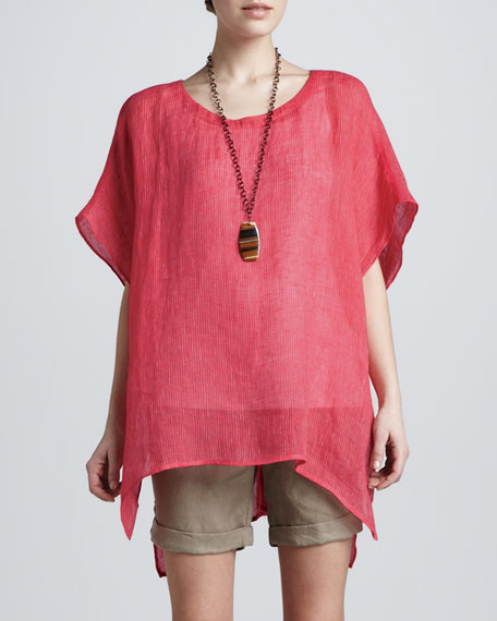 Striped Linen Short-Sleeve Tunic