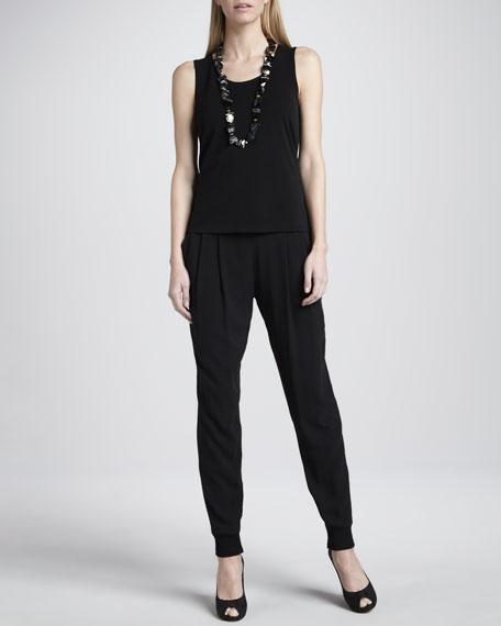 Cuffed Silk Georgette Ankle Pants, Women's