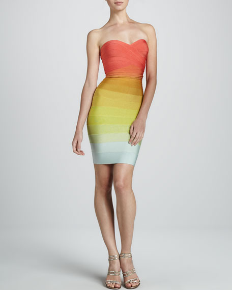 Strapless Rainbow Ombre Dress