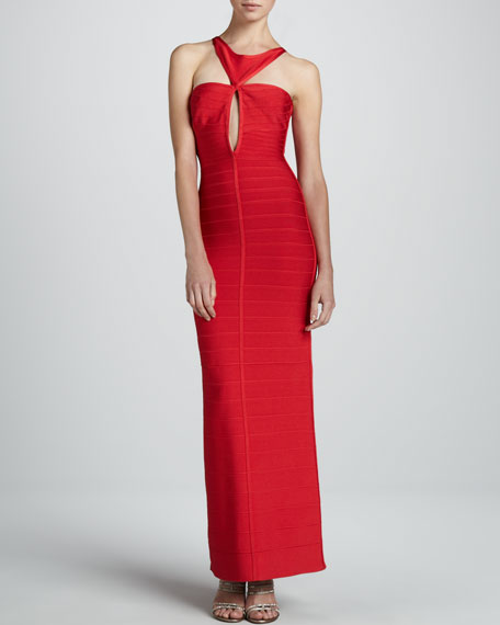 Cutout Bandage Sheath Gown