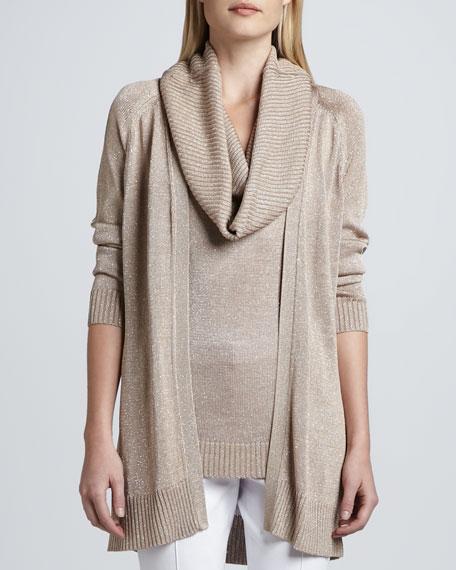 Open Front Metallic Knit Cardigan