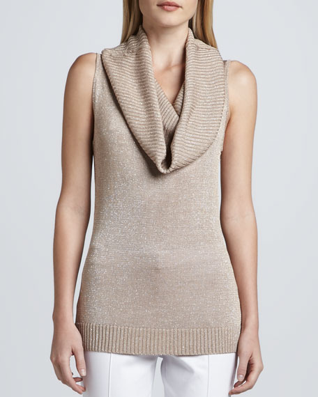 Sleeveless Metallic Knit Cowl-Neck Top