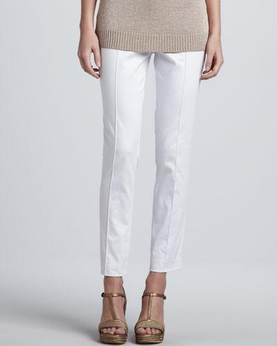 Magaschoni Slim Stretch Poplin Pants, White