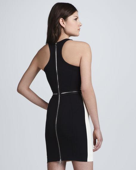 Zip-Waist Bicolor Racerback Dress