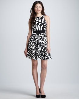 Milly Geometric-Print Circle Dress