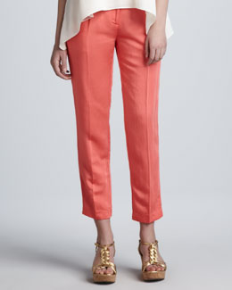 Milly Nicole Cropped Pants, Coral