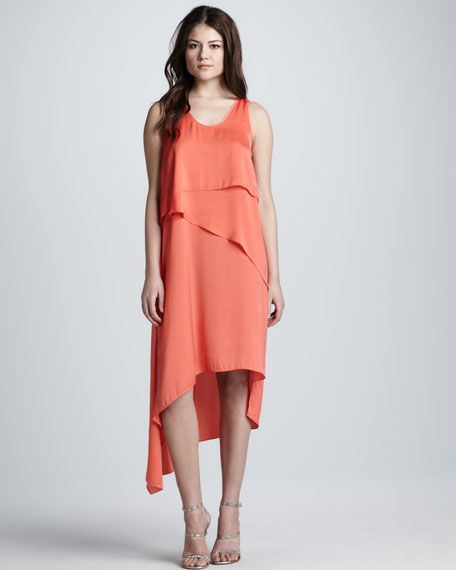Asymmetric-Hem Layered Tank Dress