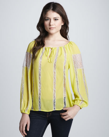Lace-Tie Peasant Top