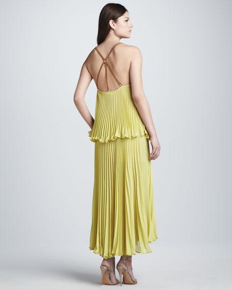 Plisse Double-Layer Dress