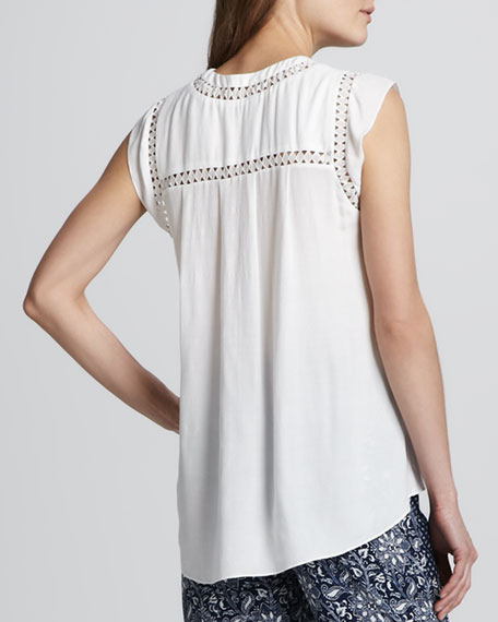 Eyelet-Trimmed Diamond Tee